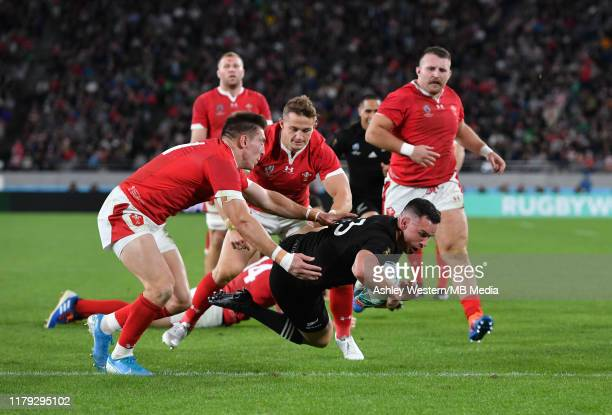New Zealand's Ryan Crotty scores his sides fifth try during the Rugby World Cup 2019 Bronze Final match between New Zealand and Wales at Tokyo...