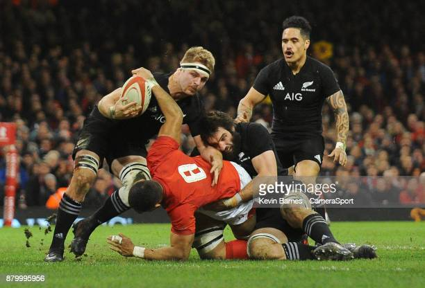 New Zealand's Sam Cane nicks the ball out of Wales' Taulupe Faletau's hand on the try line during the 2017 Under Armour Series Autumn International...
