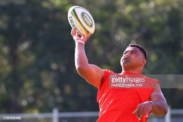New Zealand's Samisoni Taukei'aho throws the ball during the captain's run in Brisbane on September 17 ahead of Rugby Championship round four clash...