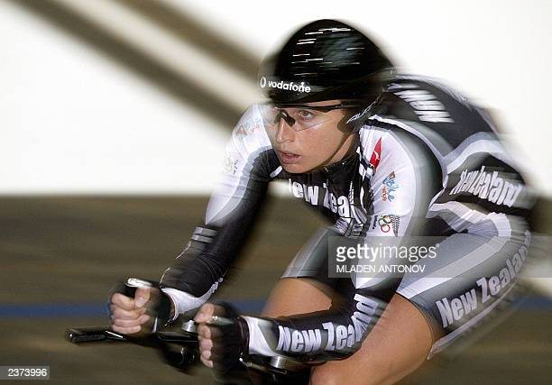New Zealand's Sarah Ulmer rides during the first round of the women's individual pursuit on the third day of the UCI world track cycling...