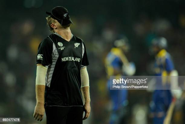 New Zealand's Scott Styris walks on the field with his cap over his face during their ICC Cricket World Cup 2011 semifinal match against Sri Lanka in...