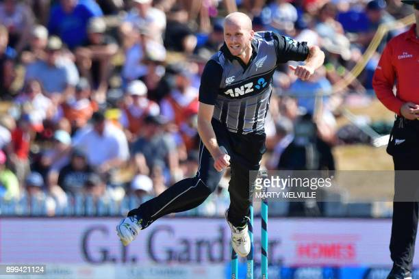 TOPSHOT New Zealand's Seth Rance bowls during the first Twenty20 international cricket match between New Zealand and the West Indies at Saxton Oval...