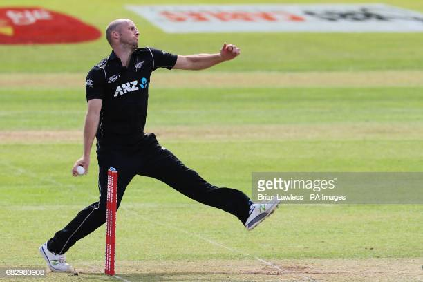 New Zealand's Seth Rance bowls during the One Day International Tri Nations Series match at Malahide Cricket Club Ground