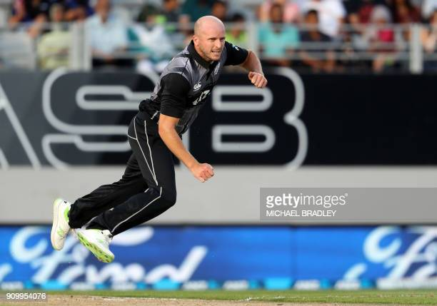 New Zealand's Seth Rance bowls during the second Twenty20 international cricket match between New Zealand and Pakistan at Eden Park in Auckland on...