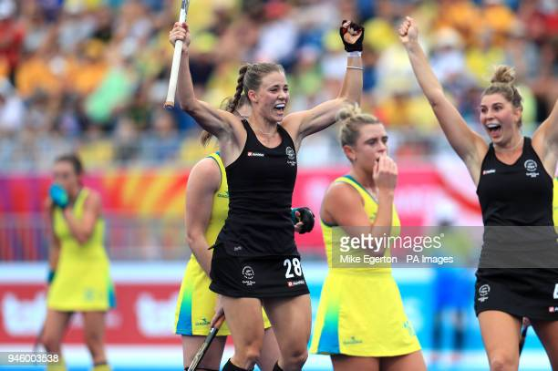 New Zealand's Shiloh Gloyn celebrates scoring her side's first goal of the game against Australia in the Women's Gold Medal match at the Gold Coast...