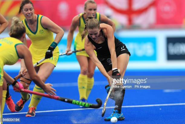 New Zealand's Shiloh Gloyn scores her side's first goal of the game against Australia in the Women's Gold Medal match at the Gold Coast Hockey Centre...