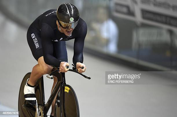 New Zealand's Simon Van Velthooven competes in the Men's Kilometre time trial final at the UCI Track Cycling World Championships in...