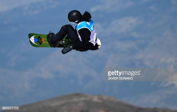 New Zealand's snowboarder Carlos Garcia Knight competes during the men's slopestyle final in the FIS Snowboard and Freestyle Ski World Championships...