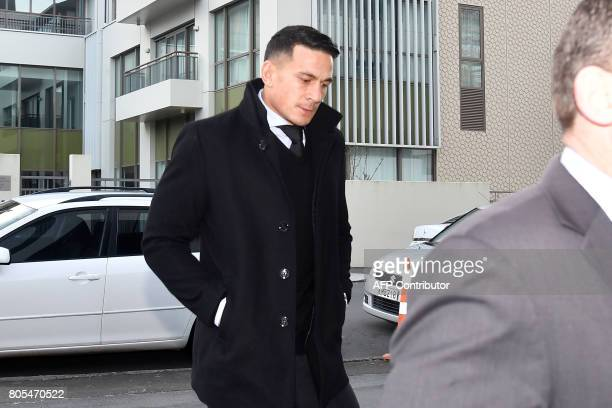 CORRECTION New Zealand's Sonny Bill Williams arrives at the NZRU Headquarters with his legal team for a judicial hearing in Wellington on July 2 2017...