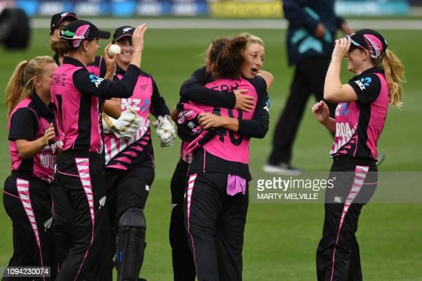New Zealand's Sophie Devine hugs teammate Amelia Kerr as they celebrate their win in the first Twenty20 international women's cricket match between...