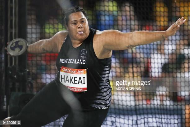 New Zealand's Sositina Hakeai competes in the athletics women's discus throw final during the 2018 Gold Coast Commonwealth Games at the Carrara...