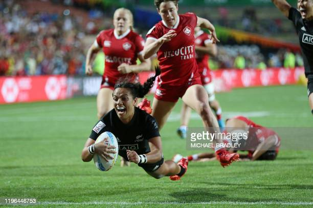 New Zealands Stacey Fluhler dives in for a try during the women's rugby final match between New Zealand and Canada during day two of the HSBC World...