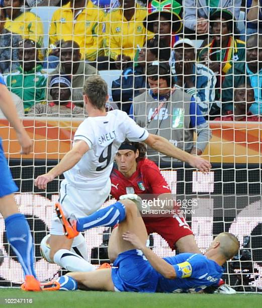 New Zealand's striker Shane Smeltz scores past Italy's defender Fabio Cannavaro during their Group F first round 2010 World Cup football match on...
