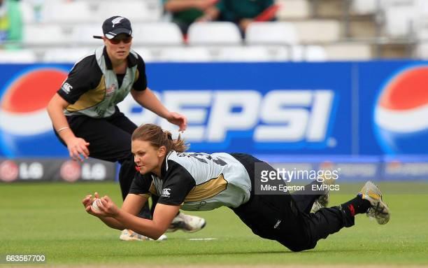 New Zealand's Suzie Bates takes a diving catch to dismiss India's Anjum Chopra