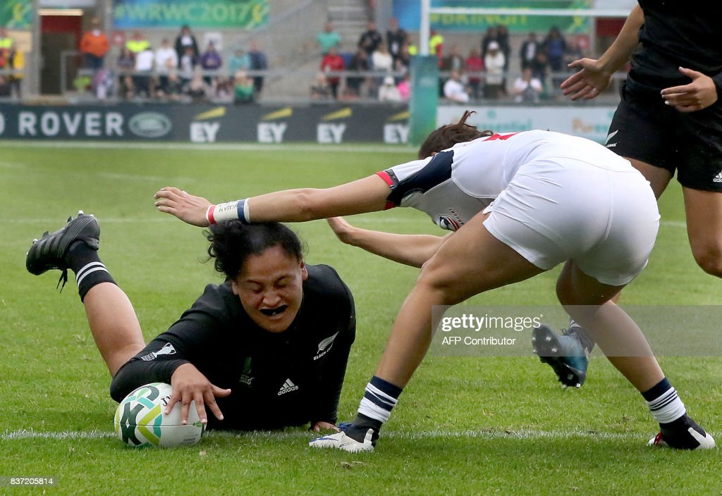 New Zealand's Te Kura Ngata-Aerengamate scores a try during the Women's Rugby World Cup 2017 semi-final match between New Zealand and USA at The Kingspan Stadium in Belfast on August 22, 2017. PHOTO / Paul FAITH / RESTRICTED