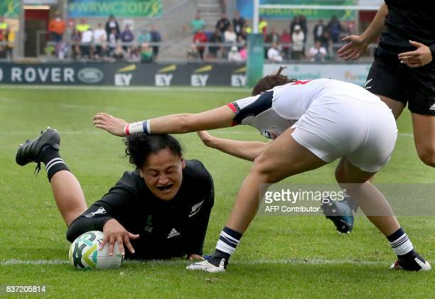 New Zealand's Te Kura NgataAerengamate scores a try during the Women's Rugby World Cup 2017 semifinal match between New Zealand and USA at The...