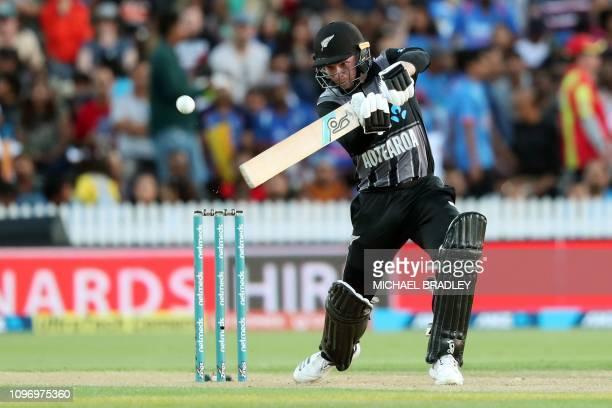 New Zealand's Tim Seifert plays a shot during the third Twenty20 international cricket match between New Zealand and India in Hamilton on February 10...