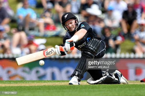 New Zealand's Tim Seifert plays a shot during the Twenty20 cricket match between New Zealand and England at Saxton Oval in Nelson on November 5, 2019.