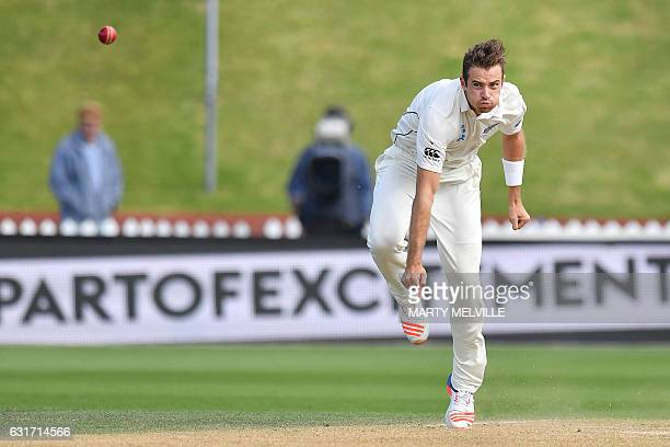 New Zealand's Tim Southee bowls during day four of the first international Test cricket match between New Zealand and Bangladesh at the Basin Reserve...
