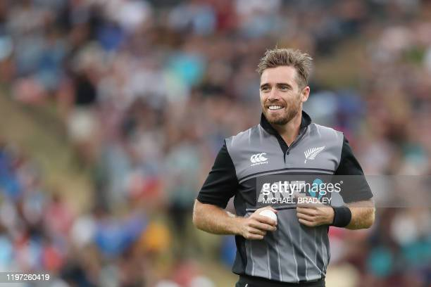 New Zealands Tim Southee smiles during the third Twenty20 cricket match between New Zealand and India at Seddon Park in Hamilton on January 29, 2020.