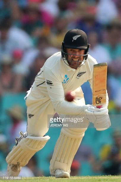 New Zealand's Tom Blundell plays a shot during the second day of the third cricket Test match between Australia and New Zealand at the Sydney Cricket...