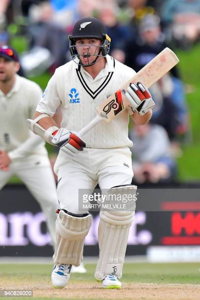 New Zealand's Tom Latham calls to teammate Jeet Raval during day four of the second cricket Test match between New Zealand and England at Hagley Oval...