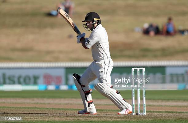 New Zealand's Tom Latham plays a shot during day one of the first cricket Test match between New Zealand and Bangladesh at Seddon Park in Hamilton on...