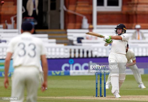 New Zealand's Tom Latham plays a shot on the fifth day of the first Test cricket match between England and New Zealand at Lord's Cricket Ground in...