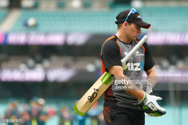 New Zealand's Tom Latham warms up prior to the first day of the third cricket Test match between Australia and New Zealand at the Sydney Cricket...