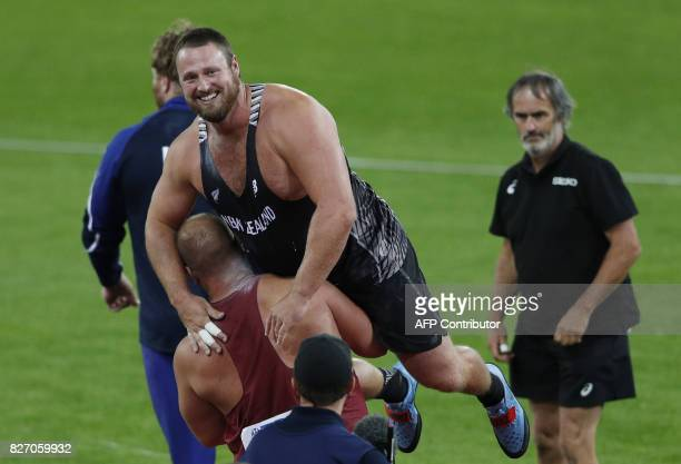 New Zealand's Tomas Walsh celebrates his gold in the final of the men's shot put athletics event at the 2017 IAAF World Championships at the London...