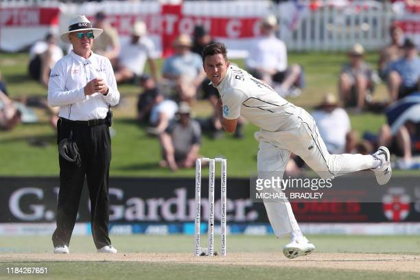 New Zealands Trent Boult bowls during the forth day of the first cricket test between England and New Zealand at Bay Oval in Mount Maunganui on...