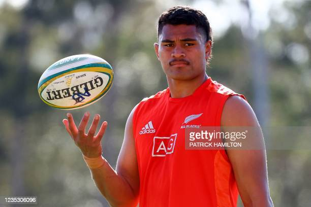 New Zealand's Tupou Vaa'i looks on during the captain's run in Brisbane on September 17 ahead of Rugby Championship round four clash with Argentina....