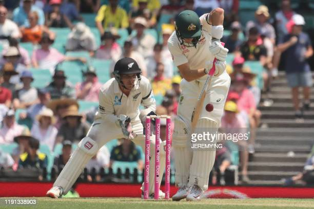 New Zealand's wicketkeeper BJ Watling watches as Australias Marnus Labuschagne plays a shot during the first day of the third cricket Test match...