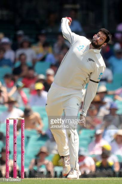 New Zealands Will Somerville bowls during the first day of the third cricket Test match between Australia and New Zealand at the Sydney Cricket...