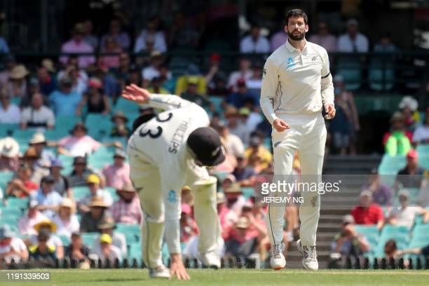 New Zealands Will Somerville reacts to a close chance during the first day of the third cricket Test match between Australia and New Zealand at the...