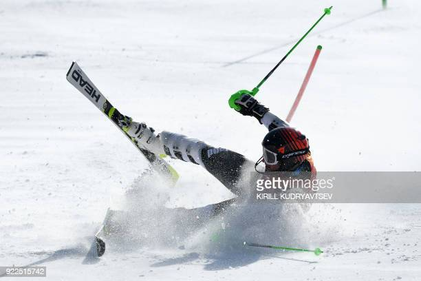 TOPSHOT New Zealand's Willis Feasey crashes as he competes in the Men's Slalom at the Yongpyong Alpine Centre during the Pyeongchang 2018 Winter...