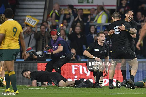 New Zealand's wing Nehe MilnerSkudder scores his team's first try during the final match of the 2015 Rugby World Cup between New Zealand and...