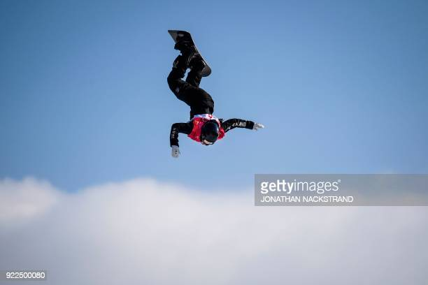 TOPSHOT New Zealand's Zoi Sadowski Synnott competes during the final of the women's snowboard big air event at the Alpensia Ski Jumping Centre during...
