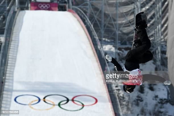 New Zealand's Zoi Sadowski Synnott competes during the qualification of the women's snowboard big air event at the Alpensia Ski Jumping Centre during...