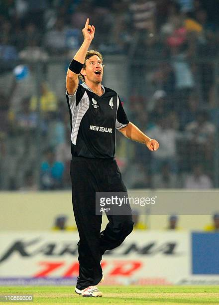 New Zeland bowler Jacob Oram rects after the dismissal of South African captain Graeme Smith during the quarterfinal match of the ICC Cricket World...