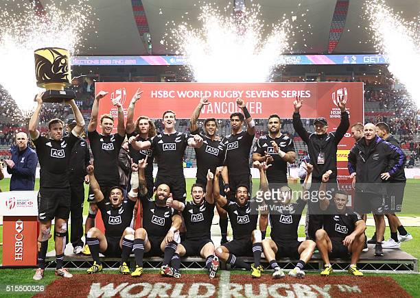 New Zeland celebrates their win in the final at the Canada Sevens the sixth round of the HSBC Sevens World Series at BC Place stadium on March 13 in...