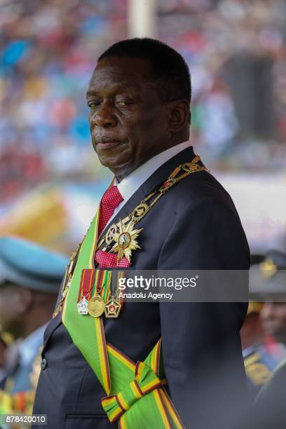 New Zimbabwe President Emerson Mnangagwa is seen after he swore in during an oathtaking ceremony at the National Sports Stadium in Harare Zimbabwe on...