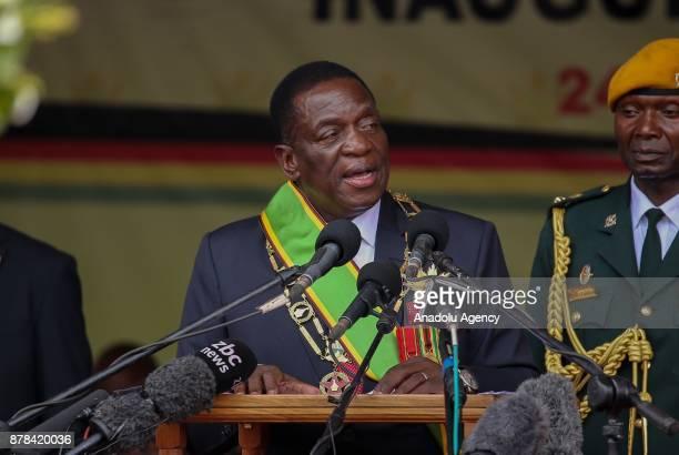 New Zimbabwe President Emerson Mnangagwa speaks during an oathtaking ceremony at the National Sports Stadium in Harare Zimbabwe on November 24 2017
