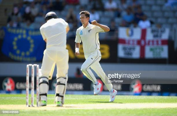 New Zzealand bowler Trent Boult celebrates the wicket of Dawid Malan during the First Test Match between the New Zealand Black Caps and England at...