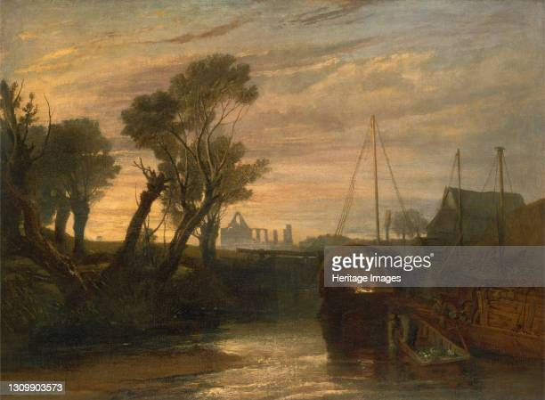 Newark Abbey;Thames Lighter at Teddington;Canal Scene with Barges;The Lock--Glowing effect of Sunlight. From Lord de Tabley's Collection;Newark...