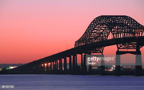 Newark Bay Bridge at Red Sunset