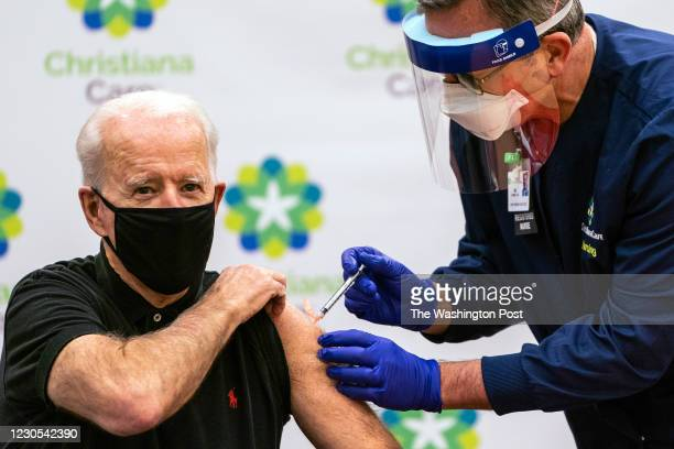 Newark, DE January 11, 2021: President- Elect Joe Biden receives the second dose Covid-19 vaccination shot at the ChristianaCare Hospital in Newark,...