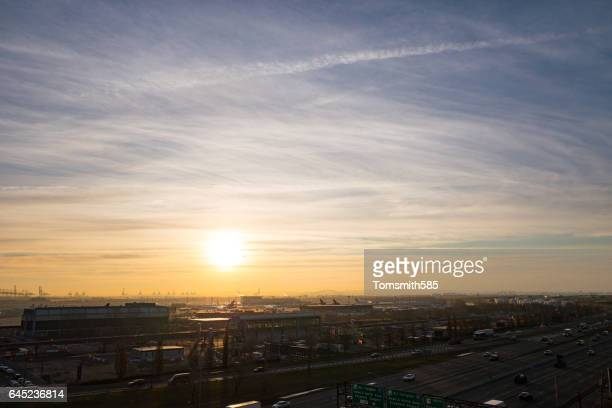 newark liberty airport - new jersey turnpike stock photos and pictures