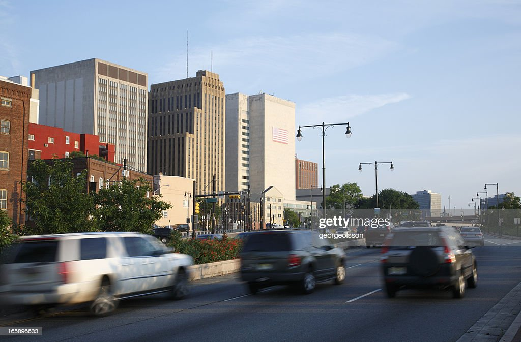 Newark, NJ Downtown Highway On The Move : Stock Photo