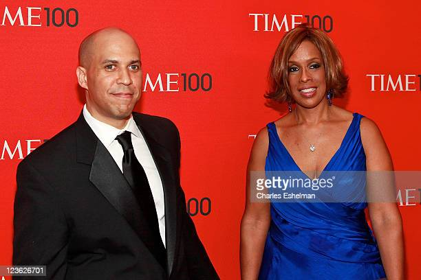Newark NJ Mayor Cory Booker and Gayle King attend the 2011 TIME 100 gala at Frederick P Rose Hall Jazz at Lincoln Center on April 26 2011 in New York...